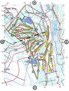 Carte du golf de sully avec courbes de niveaux